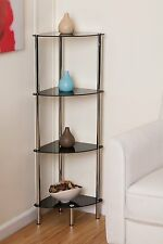4-Tier Black glass corner rack-Polo 4Tier Display Glass Unit/Bathroom Rack-GR12B