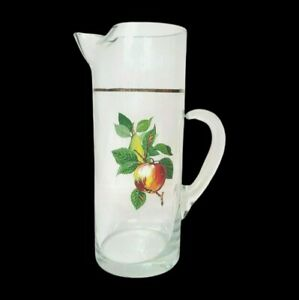 "Vintage West Virginia Glass Fruit Motif Pitcher Approx, 50oz Gold Trim 11"" Tall"