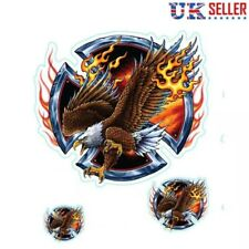 3 American Eagle Vinyl Stickers Flames Iron Cross Fire Car Motorbike Helmet - UK