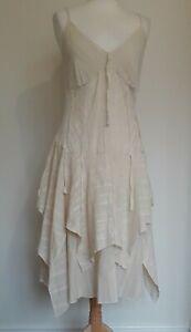 NEXT Cream Cotton Asymmetric Hem Boho Summer Dress Sz 16