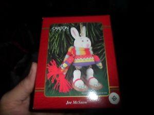 Carlton Cards Ornament - Joe McSnow - White Rabbit on Snow Shoes with Scarf