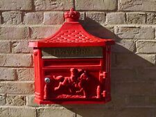 New Antique Victorian RED Aluminium Wall Mounted Locking Letter Post Mail Box