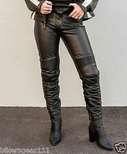 NEW LADYS LEATHER MOTORCYCLE TOURING PANTS CE ARMOUR 1.3MM A GRADE LEATHER  12
