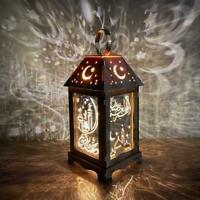 LED Lights Eid Mubarak Metal Lantern Lamp Battery Night Ramadan Light R9U0