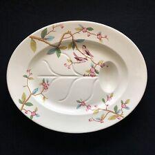 Huge Antique Polychrome Enamel Creamware Chinese Chinoiserie Turkey Bird Platter