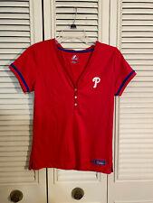 Philadelphia Phillies Womens Majestic 3 Snap Up Red Polyester Shirt Size Medium
