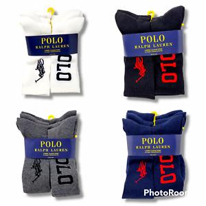 Polo Ralph Lauren Classic Sport Crew Sock 6-Pack White Black Grey Navy BIG LOGO