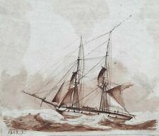 NAVIRE Bateau Marine DESSIN ORIGINAL Encre LAVIS 1848