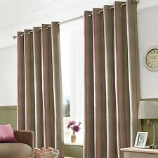 Eyelet Fully Lined Ready Made Striped Curtains Pair Duck Egg Mulberry Wine Red
