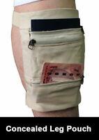 Beige Travel Neck Pouch Passport Holder Leg Wallet Concealed Wallet