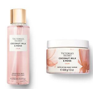 Victoria's Secret COCONUT MILK & ROSE Calm Fragrance Mist and Body Scrub