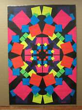 Vintage 1970 original blacklight fluorescent square poster geometric shapes 7825