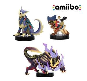 Monster Hunter Rise Amiibo Palico Palamute Magnamalo Set Nintendo Switch Figure
