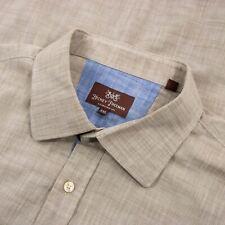 RECENT Hickey Freeman Hazel Wood Cotton Static Spread Collar Dress Shirt 2XL
