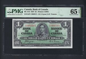 Canada One Dollar 1937 BC-21d Uncirculated Graded 65