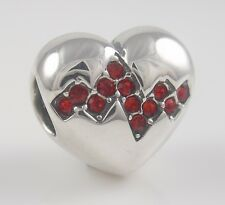 MY HEART BEATS FASTER 925 STERLING SILVER/Red Bead LOVE European Charm NEW