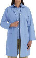 New Women's Full Length Blue Navy White Lab Coat, 5 Button
