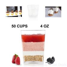Premium Square Plastic Dessert Cup 4 oz Made From Durable Crystal Clear By Oasis