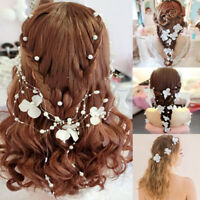 Bridal Flower Bendable Vine Hair Accessories Wired Beaded Headband Clips