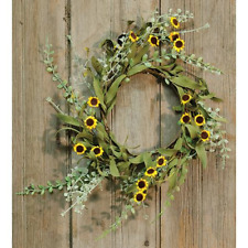 New Primitive Yellow DAISY CANDLE RING Wreath Sunflower French Country Farmhouse