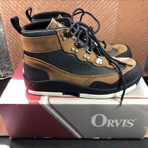 Orvis Mens Wading Boots 10/10.5 P 672E-01 Tan Black Felt Bottom Fishing