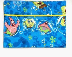 Toddler Pillowcase for Sponge Bob on Turquoise Flannel #SB13 New Handmade