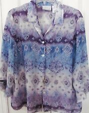 ALFRED DUNNER Petite 14P Blue Floral Sheer Light Blouse-Button Up-Airy Sleeves