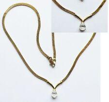 collier rétro maille plate travaillé avec cristal poire diamant a facette * 3284