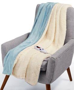 "Biddeford Soft Velour Sherpa Electric Heated 50"" x 62"" Throw Blanket BLUE - NEW"