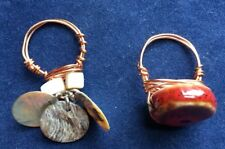 Lot Of 2 Artisan Rings Copper wire Glass bead