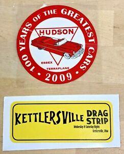 Vintage 1960 Bumper Sticker Kettlersville Drag Strip NHRA Racing & 2009 Hudson