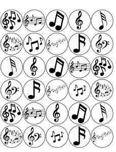 30 PRE-CUT MUSIC NOTES CUPCAKE CAKE EDIBLE RICE WAFER PAPER TOPPERS DECORATIONS