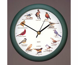 "ORIGINAL 8"" SINGING BIRD CLOCK w/ 12 Most Popular North American Song Birds  #dm"