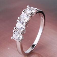 Vintage style white topaz Ring 18k white gold filled Lady ring Sz4.5-Sz9
