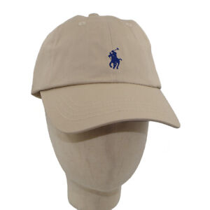 Embroidery Polo Beige Small Pony Leather Strapback Ball Cap Adjustable Sun Hat