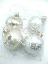 Vintage Cracked Glass Silver Christmas Ornament Heavy for size SET of 4
