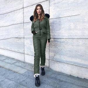 Women Winter Outdoor Snowsuit Sports Jumpsuits Hoodie Warm Snowboard Ski Suit