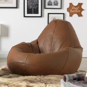 Handmade Bean bag Cover Leather Chair without Beans for luxuries Decor gift