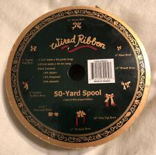 "Vintage Wired Ribbon Gold Metallic Wire Edge 50 Yr 1.5"" Christmas Wedding Stripe"
