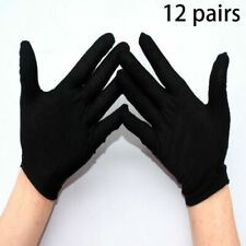 12 Paar Baumwollhandschuhe Schwarz/Weiß Handschuhe Stoff Arbeitshandschuhe
