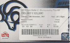 England V OLANDA UNDER 21 UEFA QUALIFICATORE A Derby 12 NOVEMBRE 2001 Match Ticket