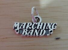 Sterling Silver 10x18mm College High School Marching Band Charm with Music Notes