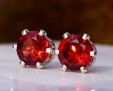 NEW Silver EARRINGS 5mm Round Facet Cut 3/4ct each Rich Red RHODOLITE GARNET