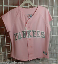 NWT MLB MAJESTIC LADIES PINK JERSEY W/ GREY LETTERING - NEW YORK YANKEES - S