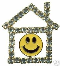 Jewelry Pin - Real Estate Smiley Face House - Crystal