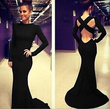 Women Backless MAXI Bandage Cocktail Evening Dress Sexy Mermaid Gown