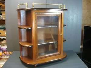 VTG Wood Curio Cabinet Tabletop/Wall Display 21 X 19 Glass Door 4 Tier W/ Brass!