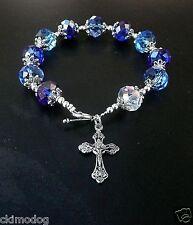 Genuine Sapphire Colored Austrian Crystal Antique Silver Rosary Prayer Bracelet