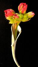 925 Solid Silver posy flower holder pin brooch Tussy Mussy Groom Wedding Poirot