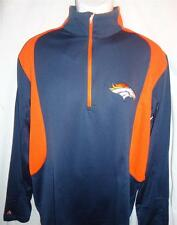 Antigua Mens Denver Broncos Delta Quarter Zip Pullover Jacket Navy M